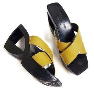 ROBERT CLERGERIE Wedge Cutout Geometric Sandals